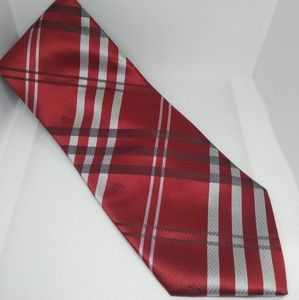"""Burberry red plaid silk tie 56"""" long, 3.5"""" wide"""
